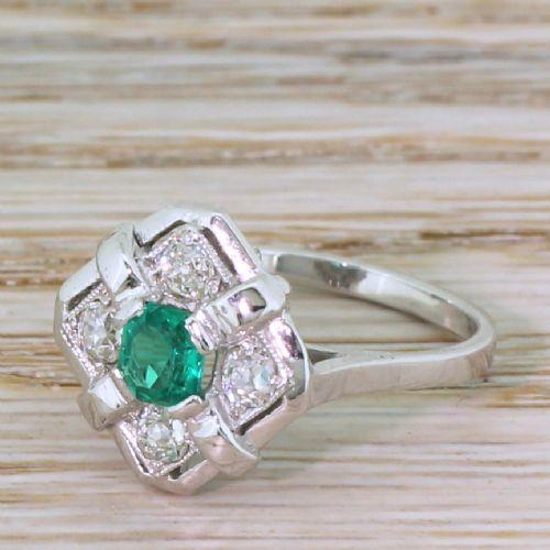 art deco 041 carat emerald 042 carat diamond ring circa 1935
