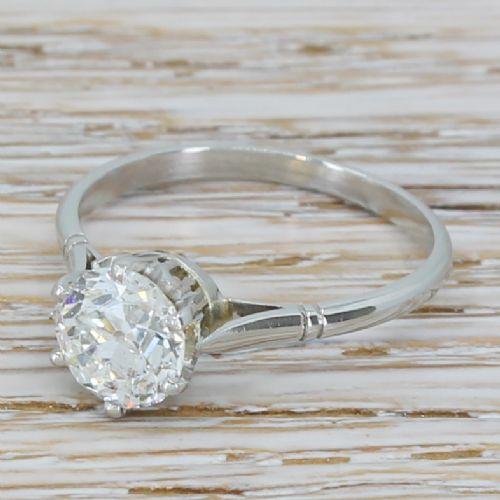 art deco 130 carat old cut diamond engagement ring circa 1920