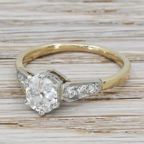 art deco 078 carat old cut diamond engagement ring circa 1920
