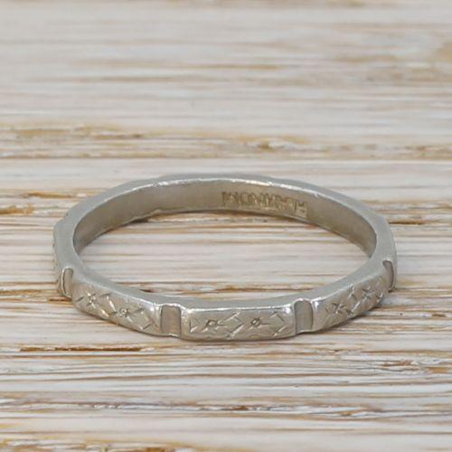 art deco platinum wedding band ring circa 1920