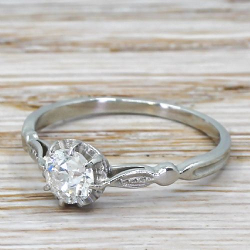 art deco 053 carat old cut diamond engagement ring circa 1925