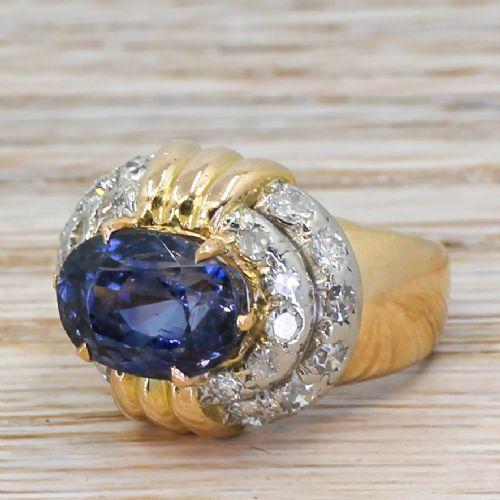 art deco 655 carat natural ceylon sapphire diamond ring circa 1945