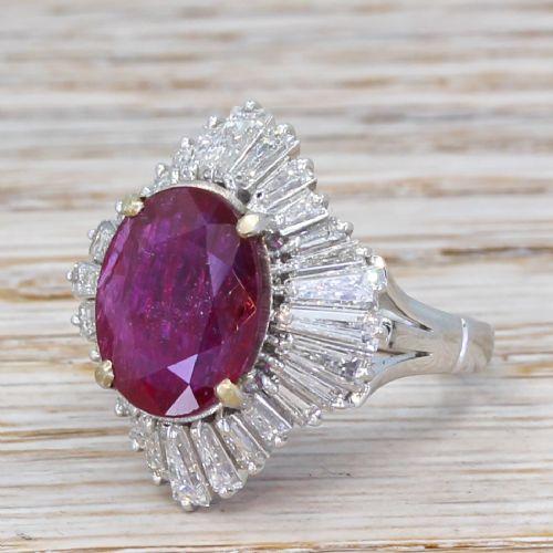 mid century 726 carat natural ruby diamond ballerina ring
