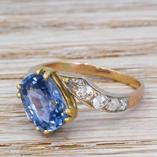 art deco 304 carat natural ceylon sapphire solitaire ring circa 1935
