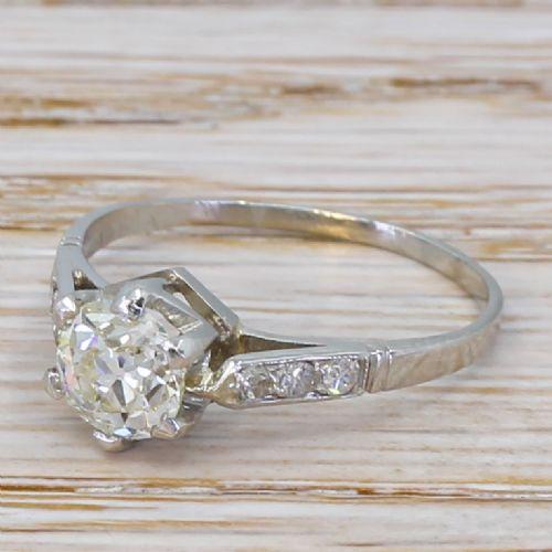 art deco 094 carat old cut diamond engagement ring circa 1925