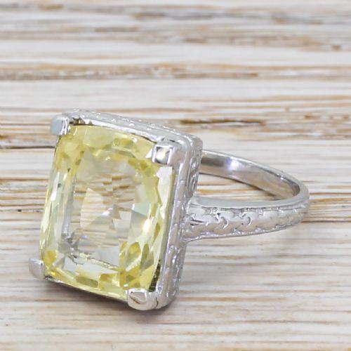 mid century 785 carat natural ceylon yellow sapphire ring circa 1960