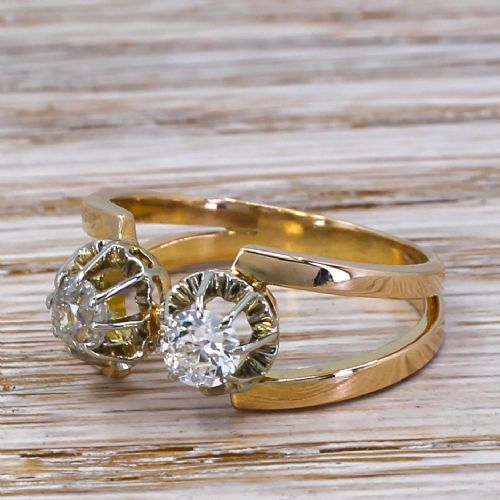 mid century 080 carat two stone diamond ring circa 1950