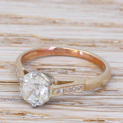 art deco 100 carat old cut diamond engagement ring circa 1935