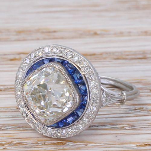 art deco 327 carat old cut diamond sapphire target cluster ring circa 1915