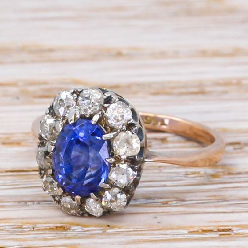 mid century 181 carat sapphire diamond cluster ring circa 1950