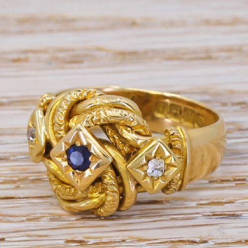 art deco sapphire diamond knot ring dated 1918