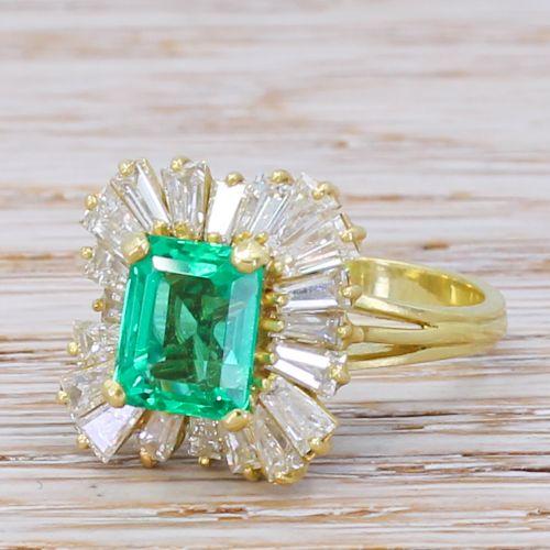 mid century 191 carat no oil colombian emerald diamond ballerina ring circa 1965