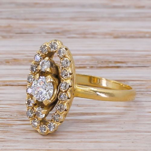 mid century 061 carat transitional cut navette ring circa 1950