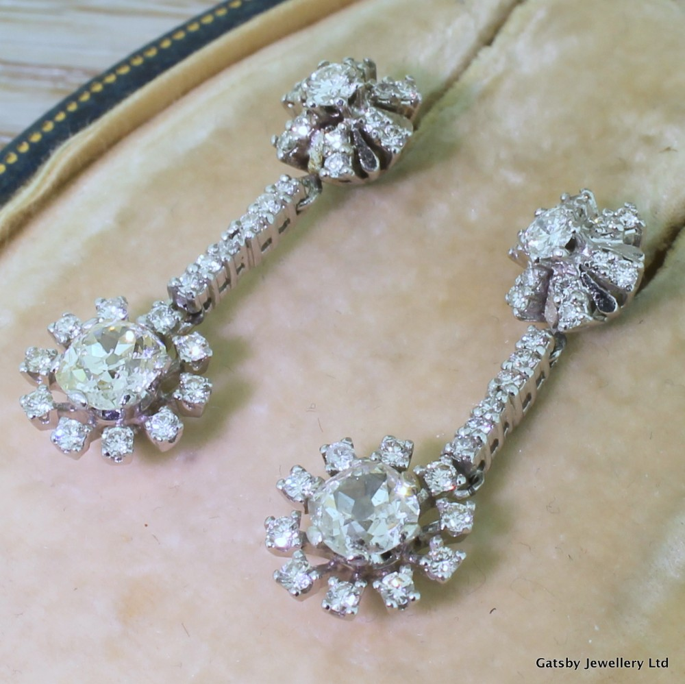 art deco 400 carat diamond sunburst earrings circa 1940