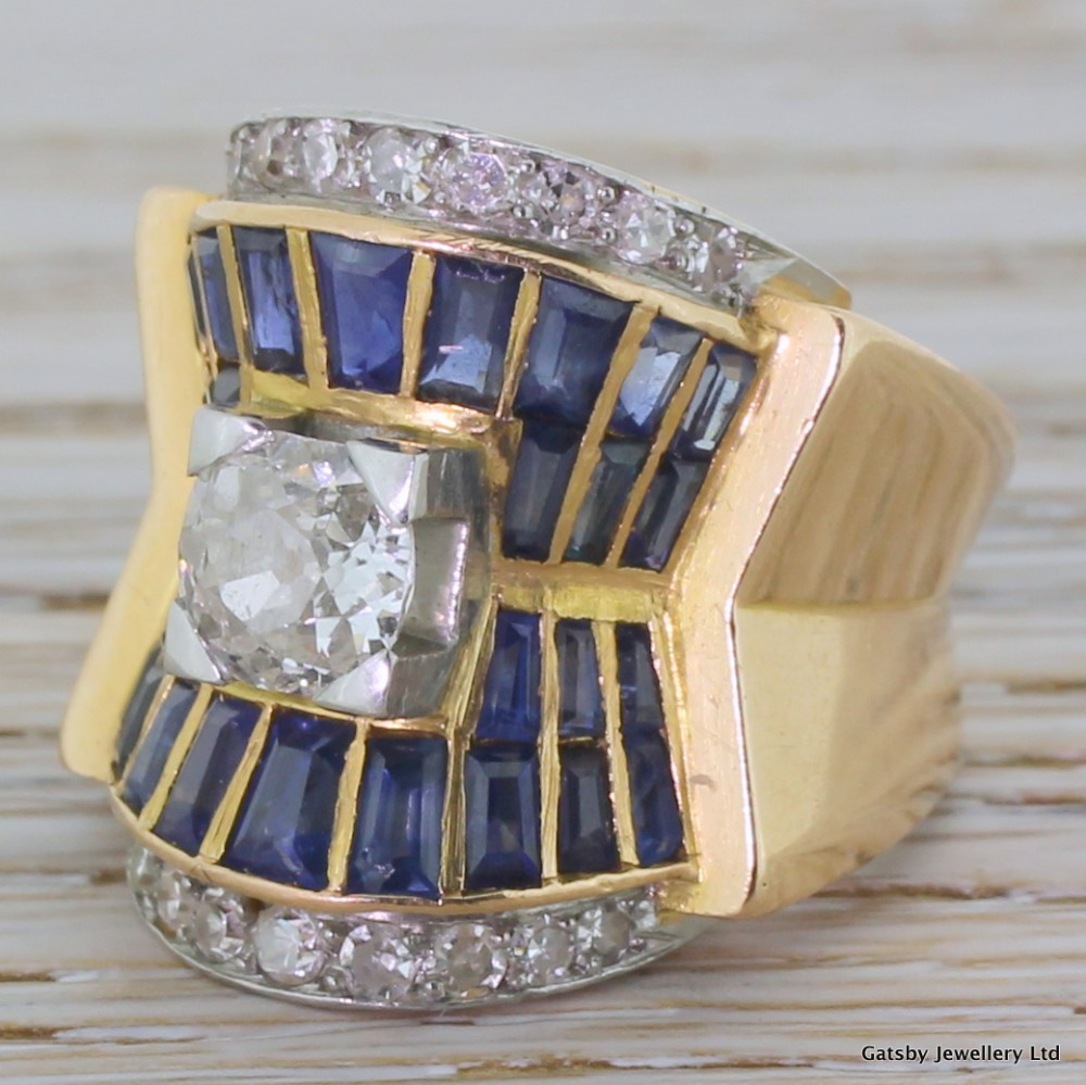 art deco old cut diamond sapphire egyptian revival ring french circa 1925