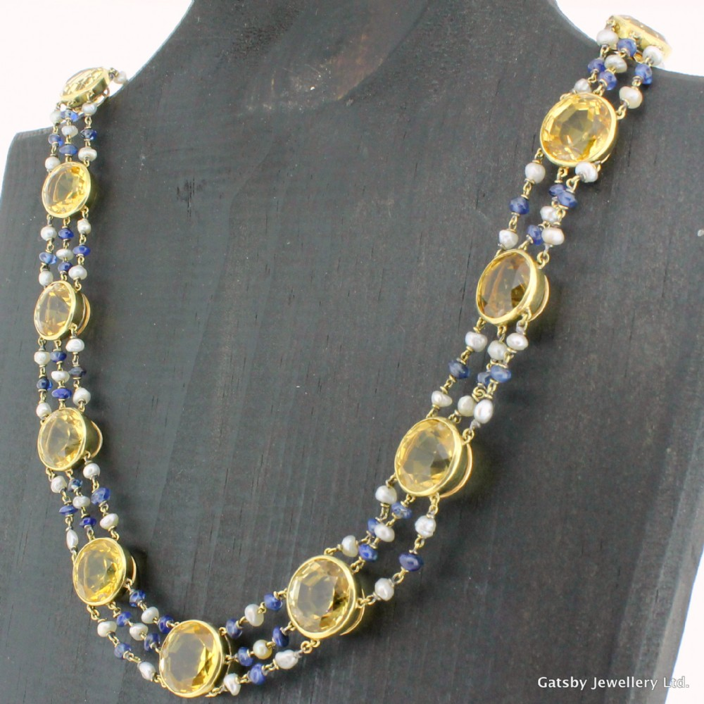 art deco citrine sapphire pearl necklace circa 1930