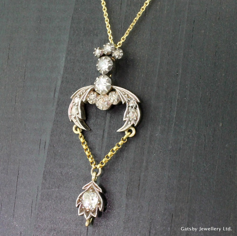 georgian 130 carat old cut diamond pendant circa 1810