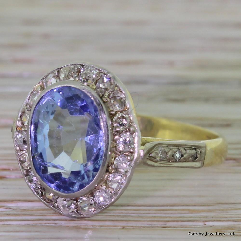 1a1148adf975d Art Deco 3.50 Carat Sapphire & 0.65 Carat Old Cut Diamond Ring ...