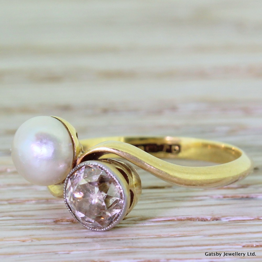 edwardian pearl 094 carat fancy cognac old cut diamond crossover ring circa 1905