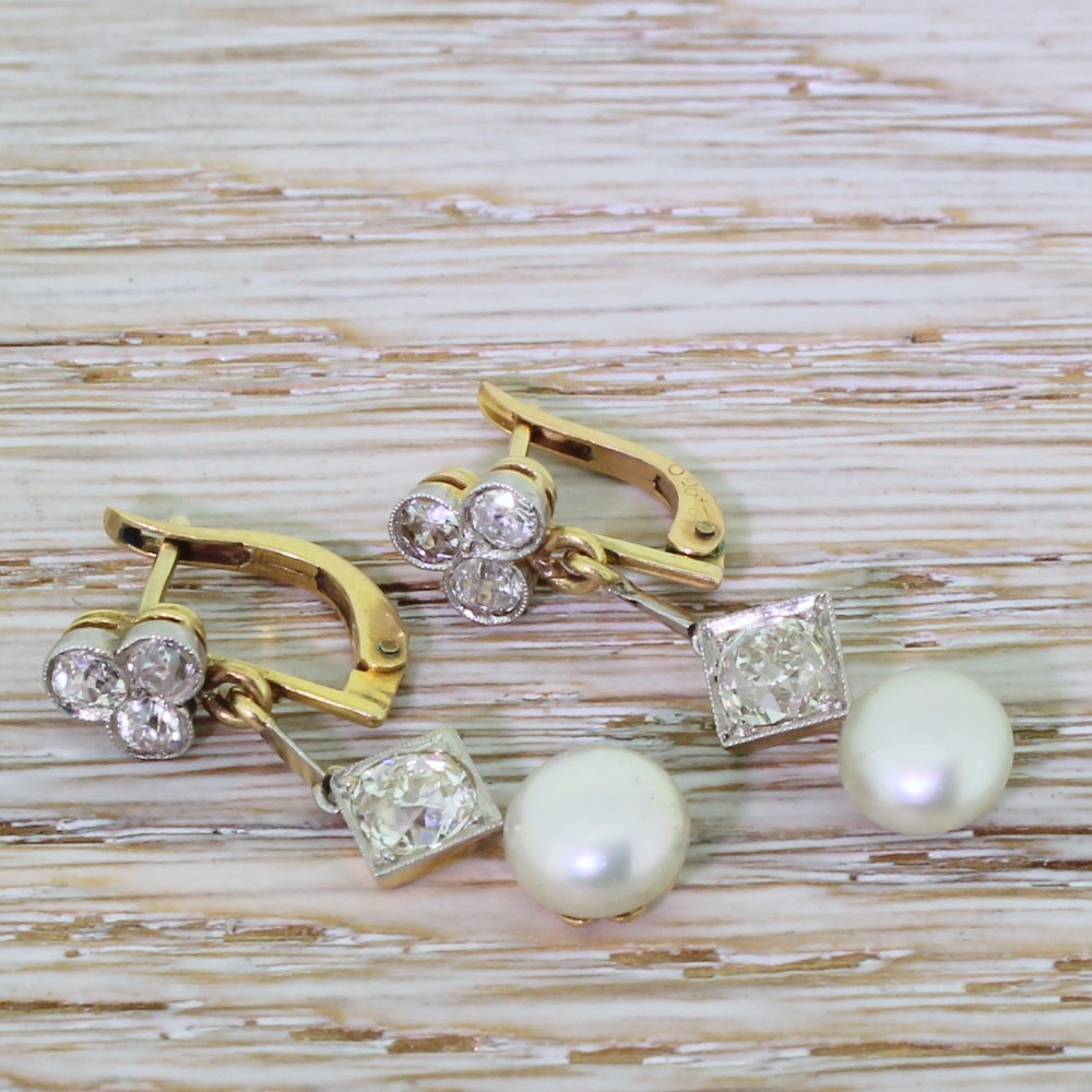 edwardian old cut diamond natural pearl drop earrings circa 1910