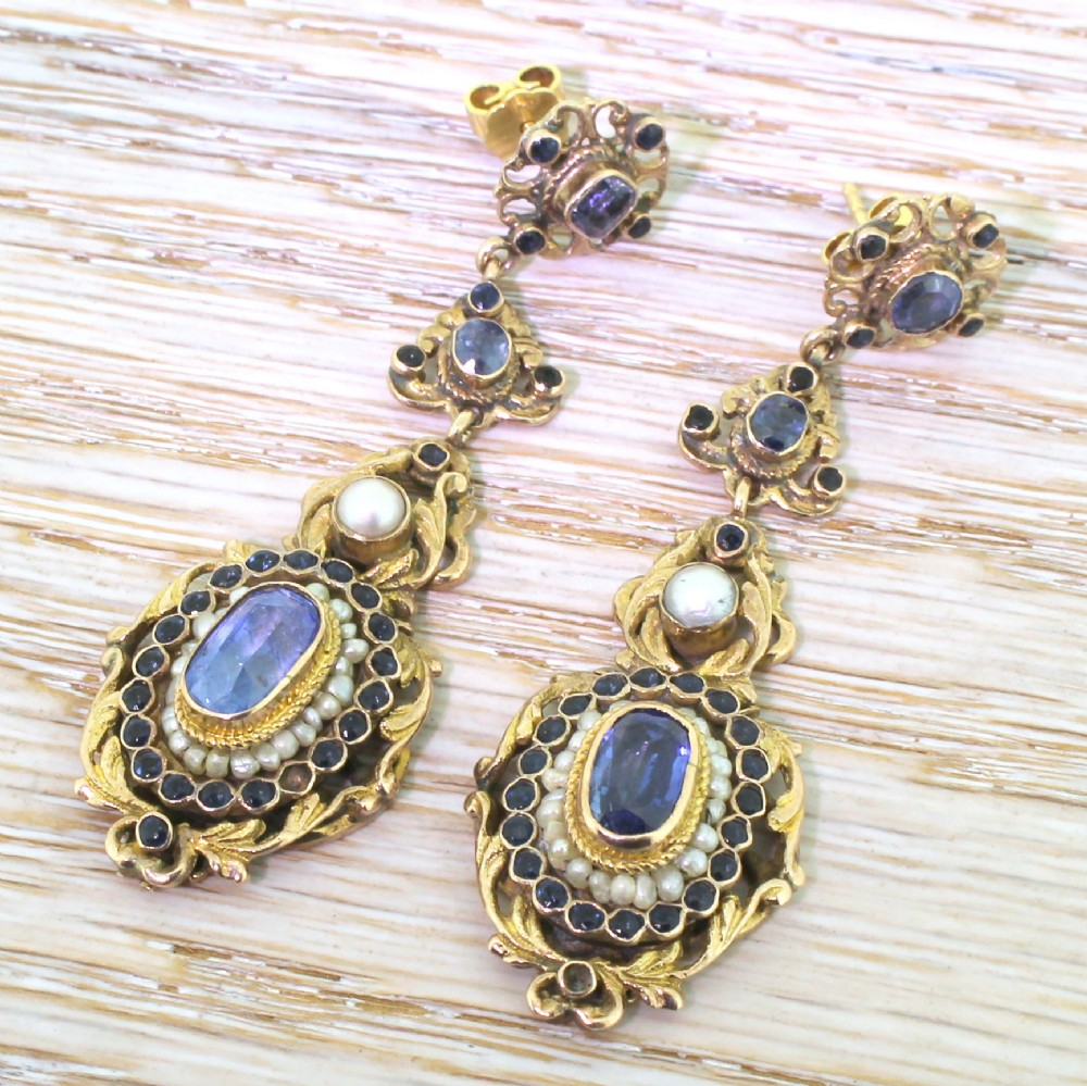 austo hungarian natural sapphire pearl earrings circa 1910