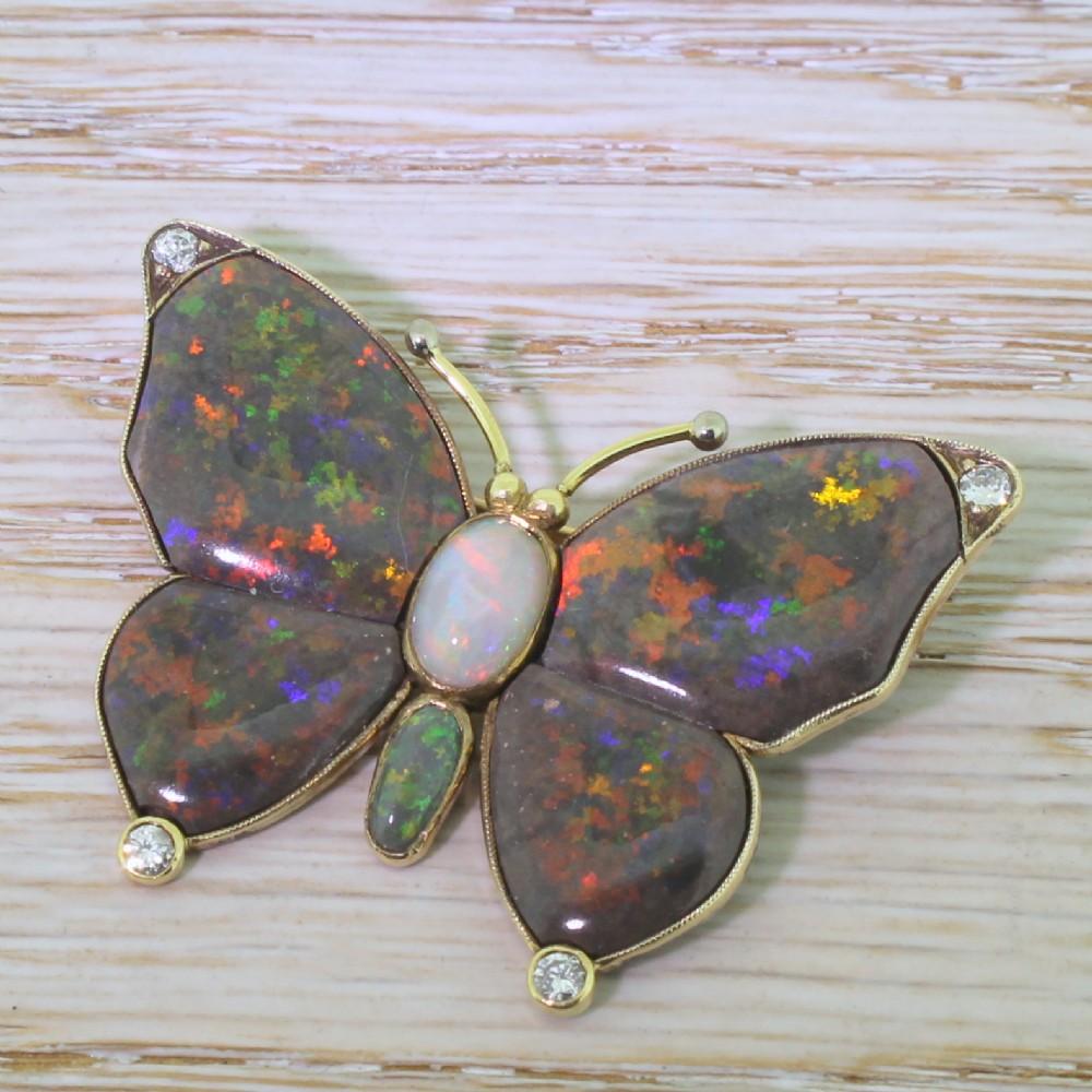 mid century black grey green opal butterfly brooch 1950