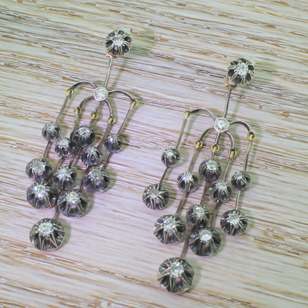 victorian 270 carat diamond silver chandelier earrings circa 1880