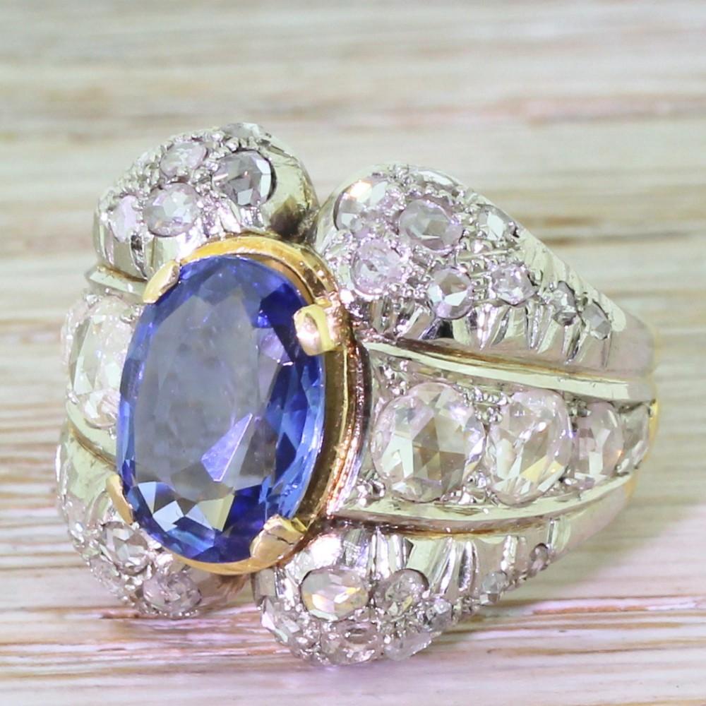 art deco 407 carat natural sapphire rose cut diamond ring circa 1930