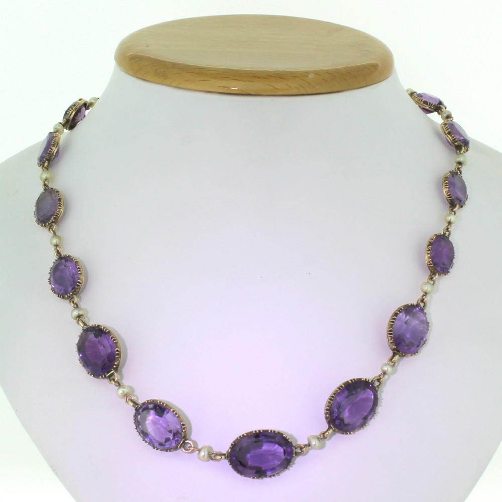 victorian amethyst pearl riviere necklace circa 1880