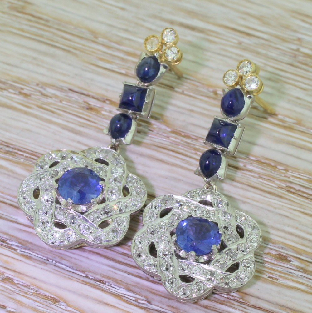 art deco sapphire diamond lotus drop earrings circa 1925