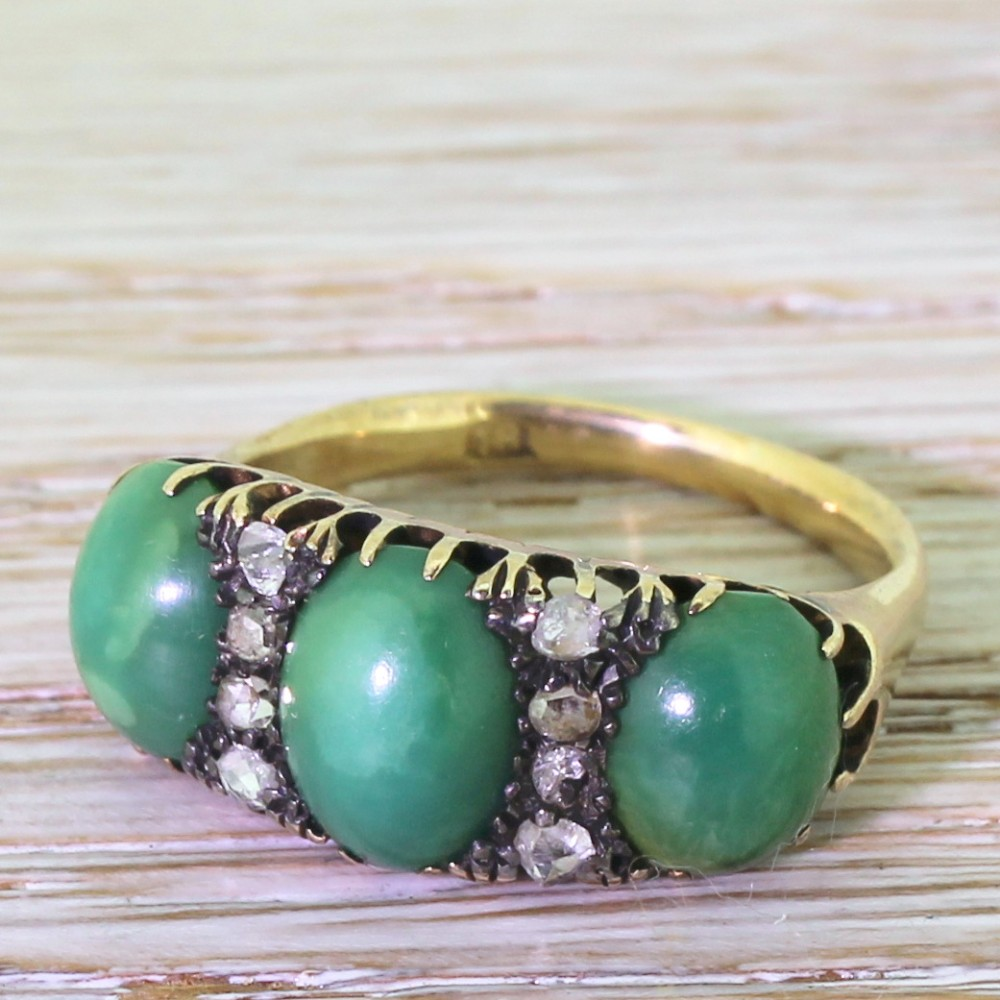 victorian green turquoise rose cut diamond trilogy ring circa 1880