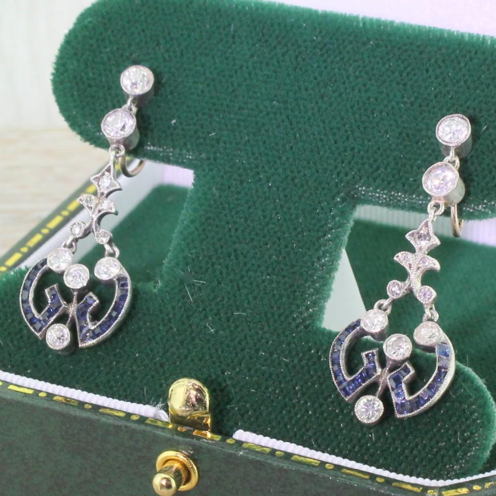victorian sapphire old cut diamond drop earrings circa 1870