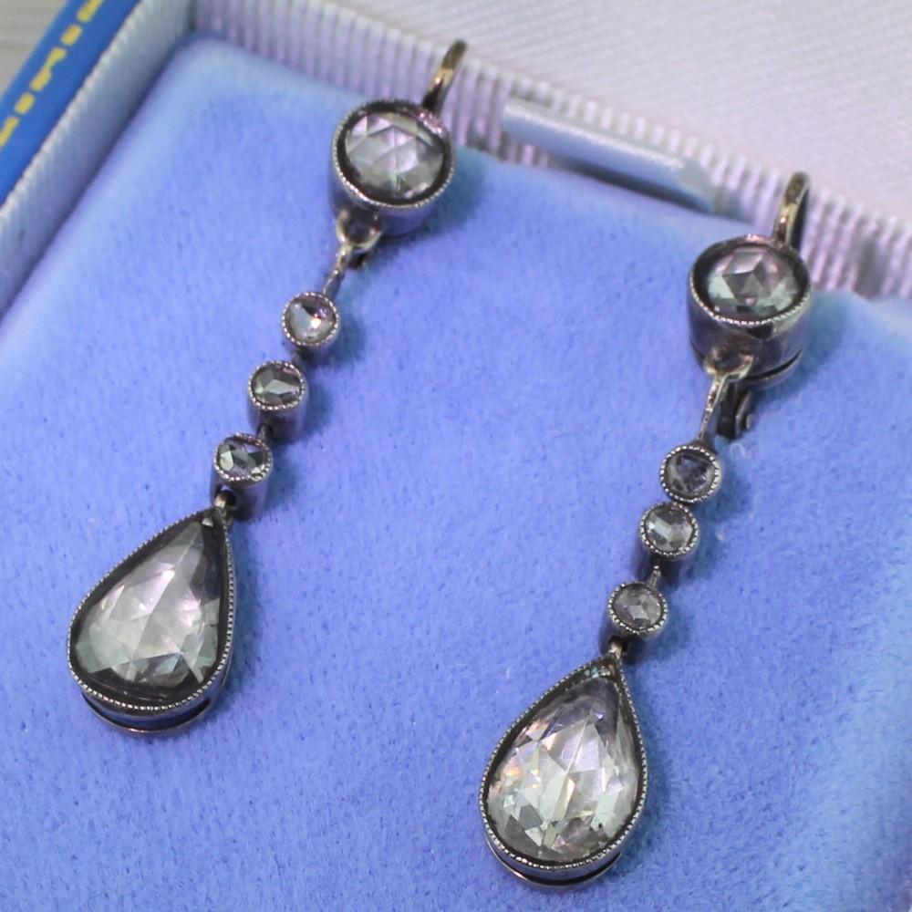 early victorian 220 carat rose cut diamond pear drop earrings circa 1850