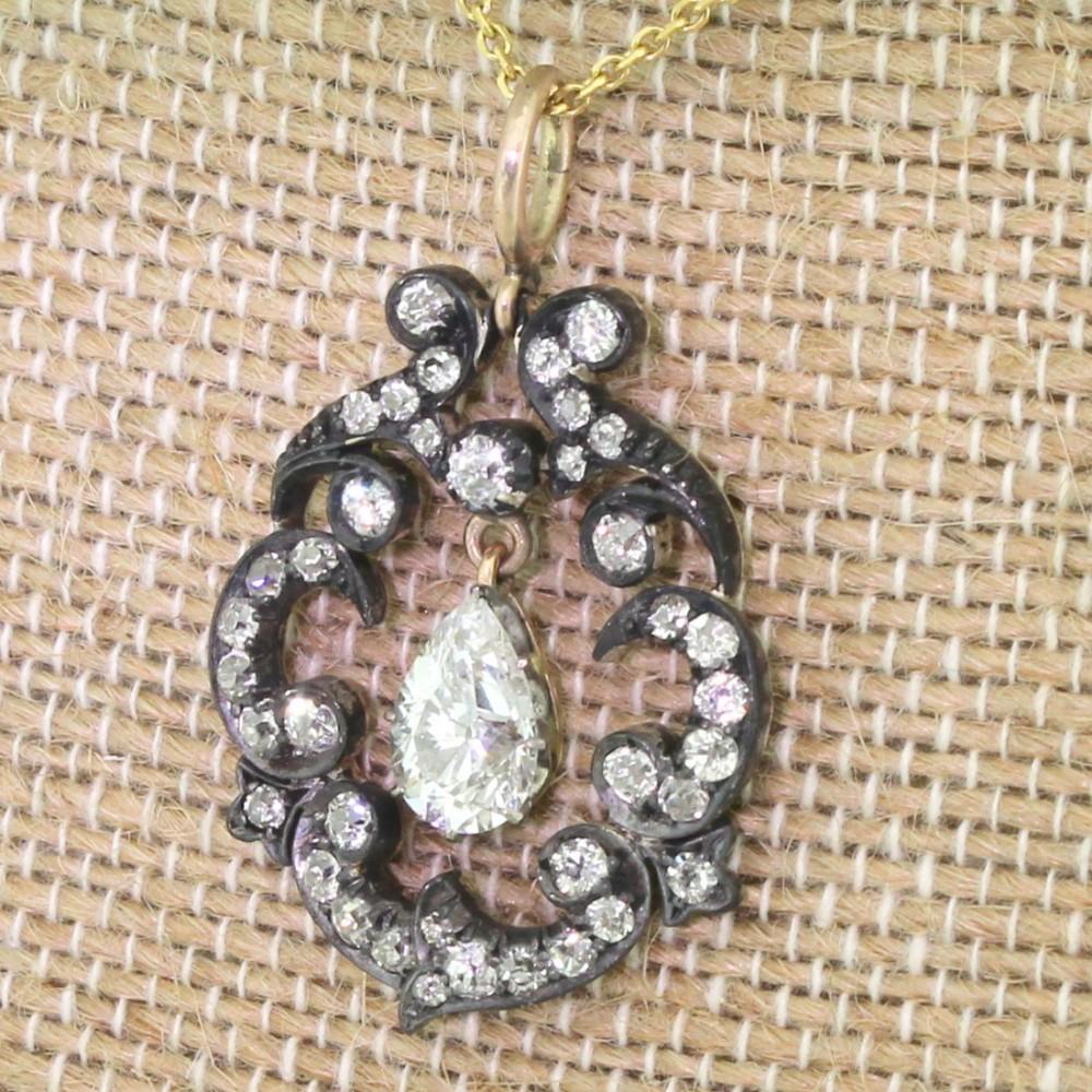victorian 348 carat old cut diamond pear drop pendant circa 1890