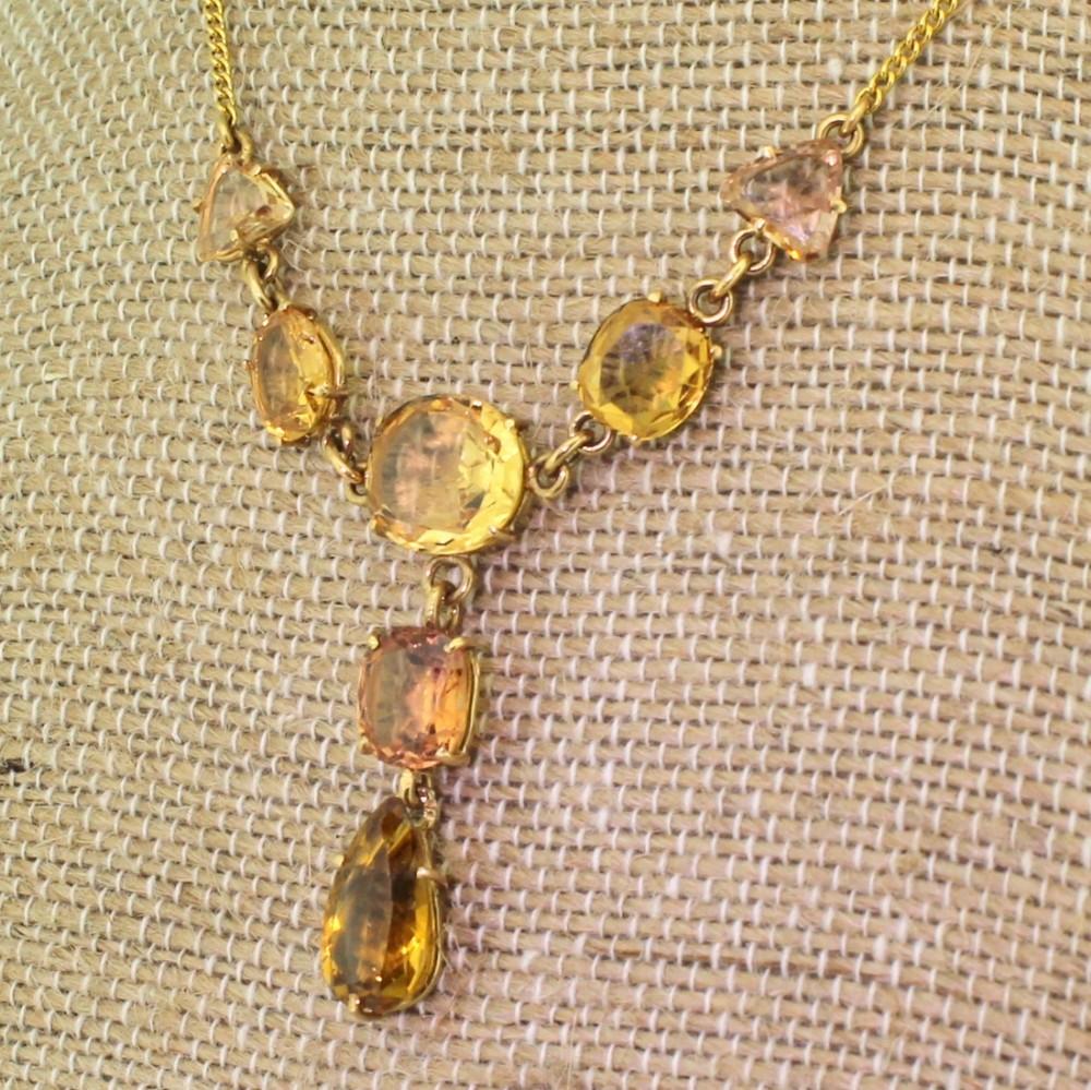 victorian topaz citrine drop necklace circa 1900