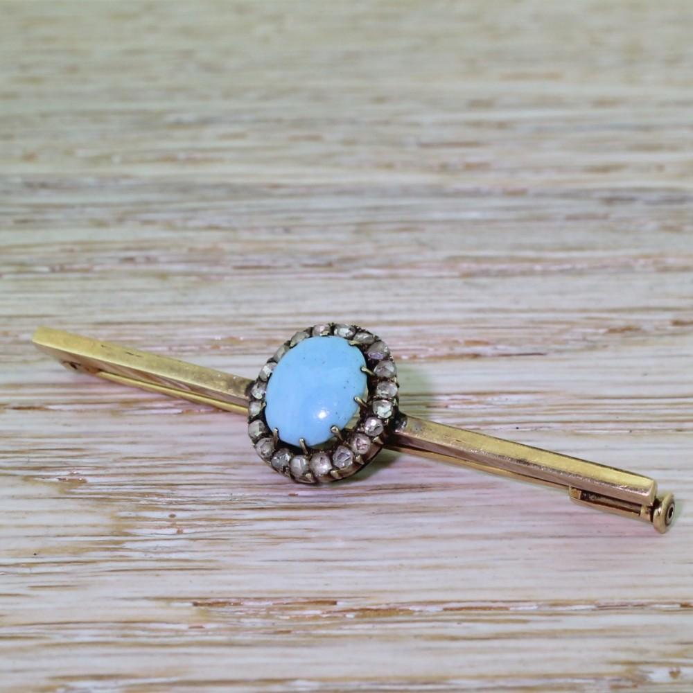 victorian turquoise rose cut diamond bar brooch circa 1890