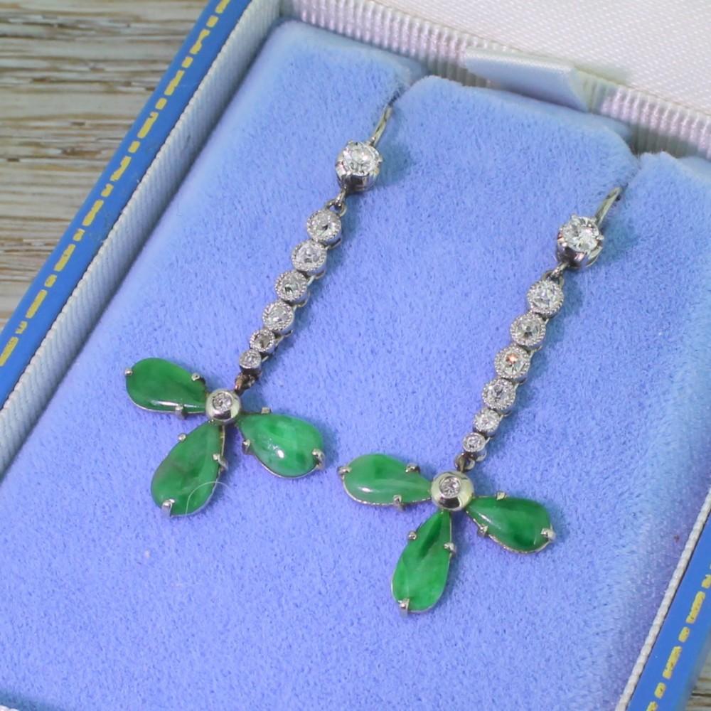 retro jade 088 carat old cut diamond drop earrings 1950