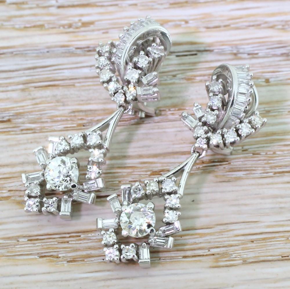 retro 300 carat old cut baguette cut diamond drop earrings circa 1950