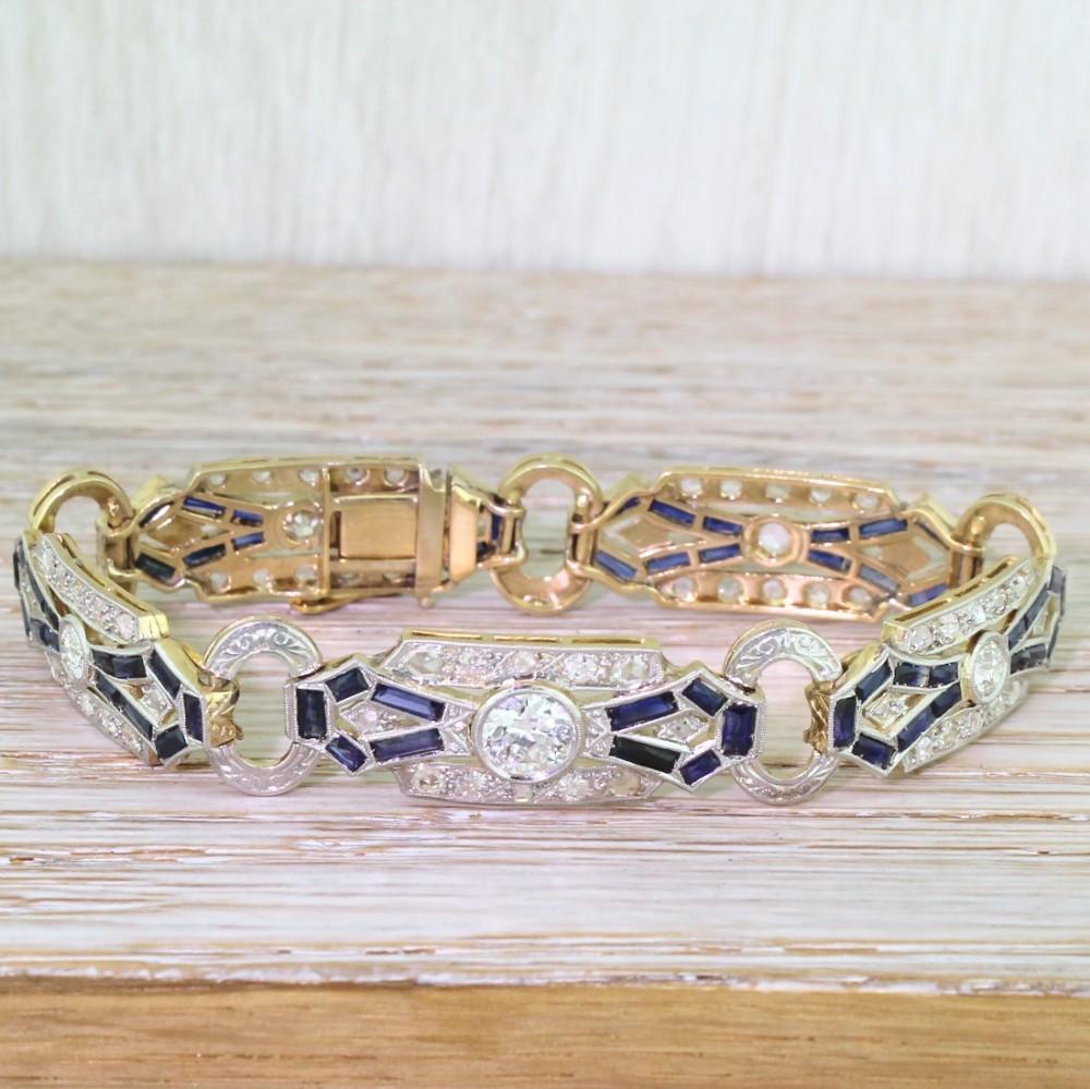 art deco old cut diamond baguette cut sapphire bracelet boxed circa 1915