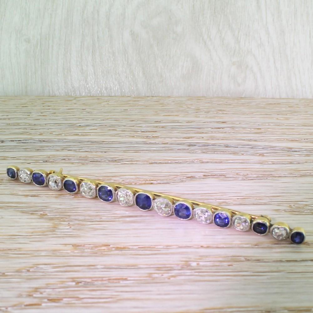 edwardian 365 carat old cut diamond natural sapphire bar brooch circa 1910