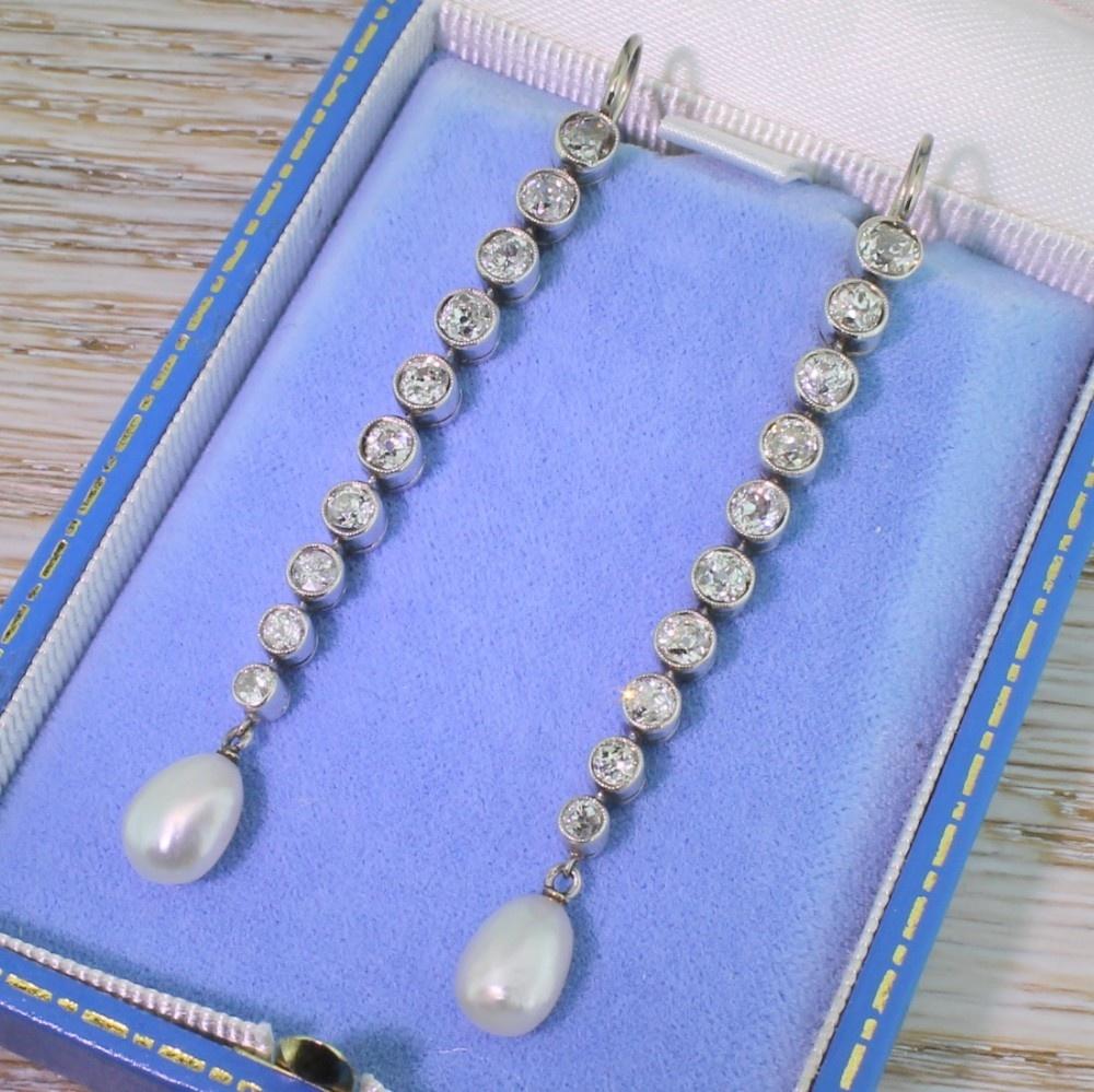 art deco natural pearl 370 carat old cut diamond drop earrings circa 1935