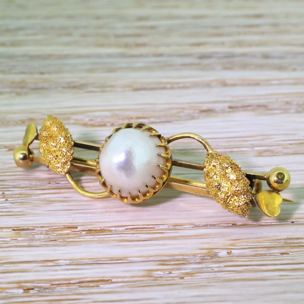 art nouveau natural saltwater pearl pin brooch circa 1900