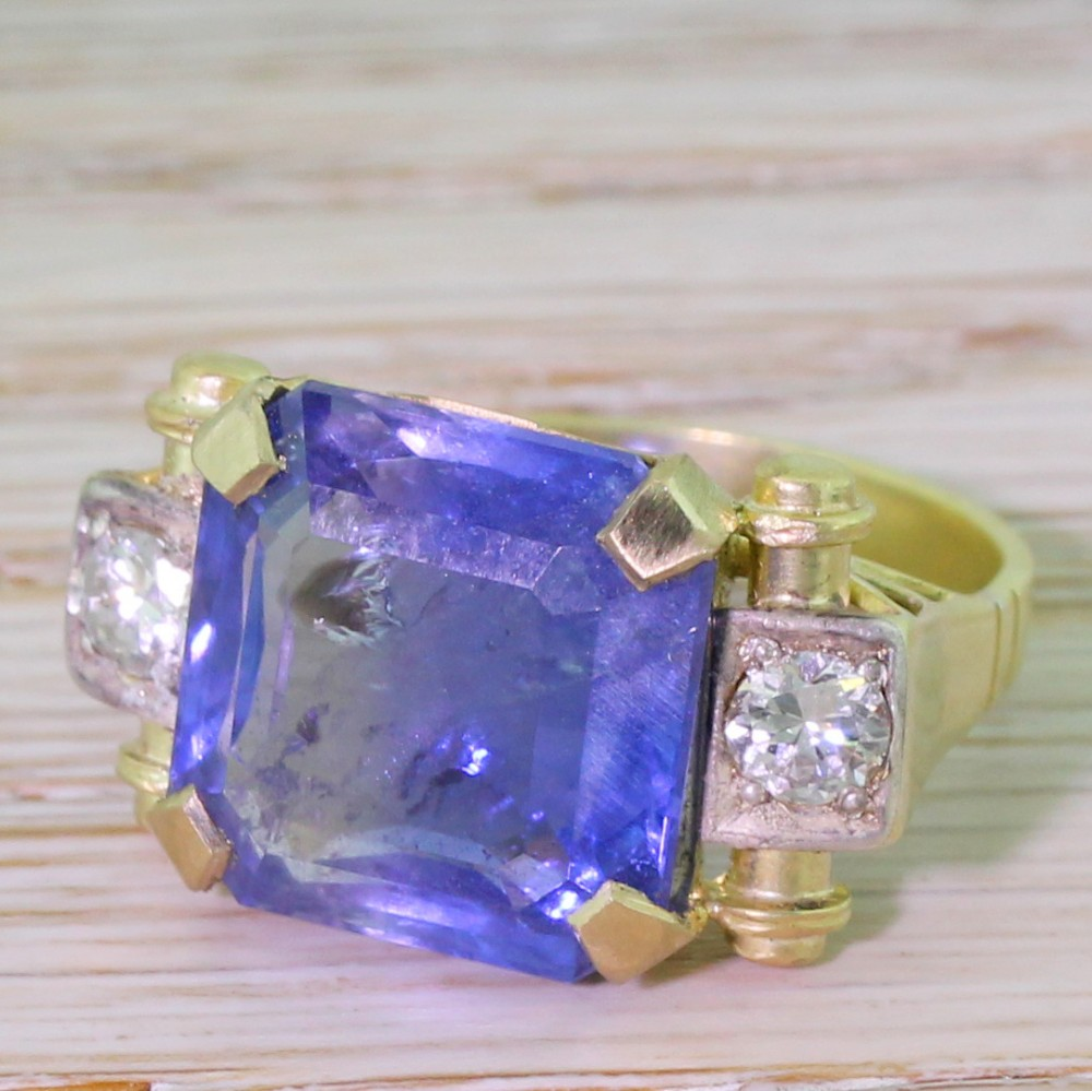 retro 1201 carat octagonal cut natural ceylon sapphire ring 1950