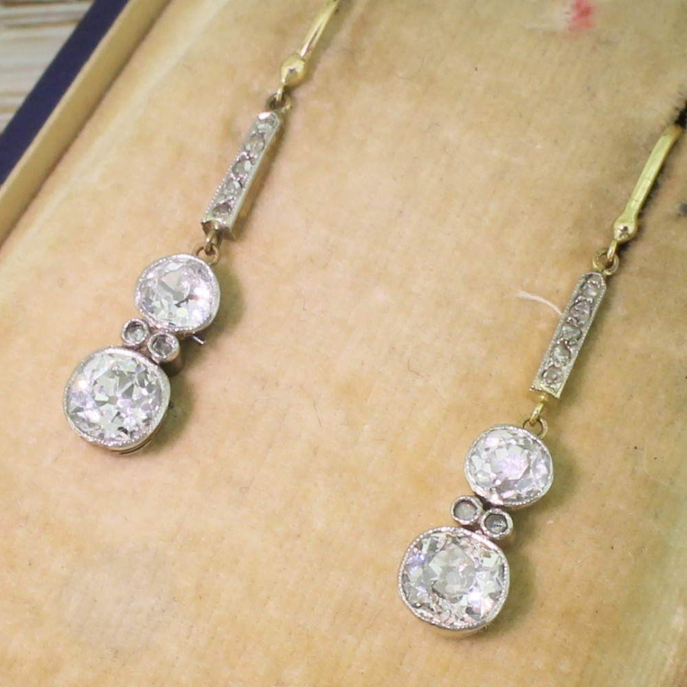 edwardian 211 carat old cut diamond drop earrings circa 1910