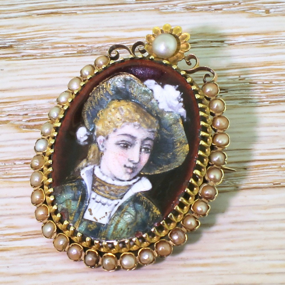 early 20th century natural pearl enamel portrait brooch french circa 1910