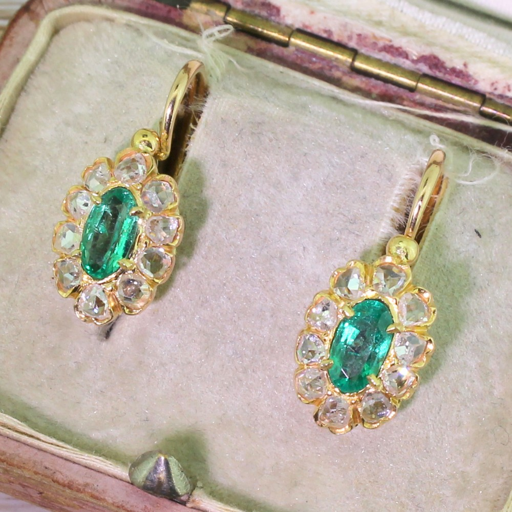 edwardian emerald rose cut diamond marquise cluster earrings french circa 1905