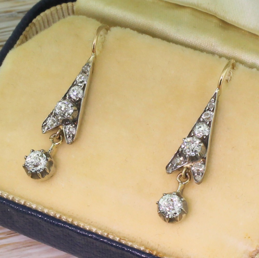 victorian 096 carat old cut diamond drop earrings circa 1870