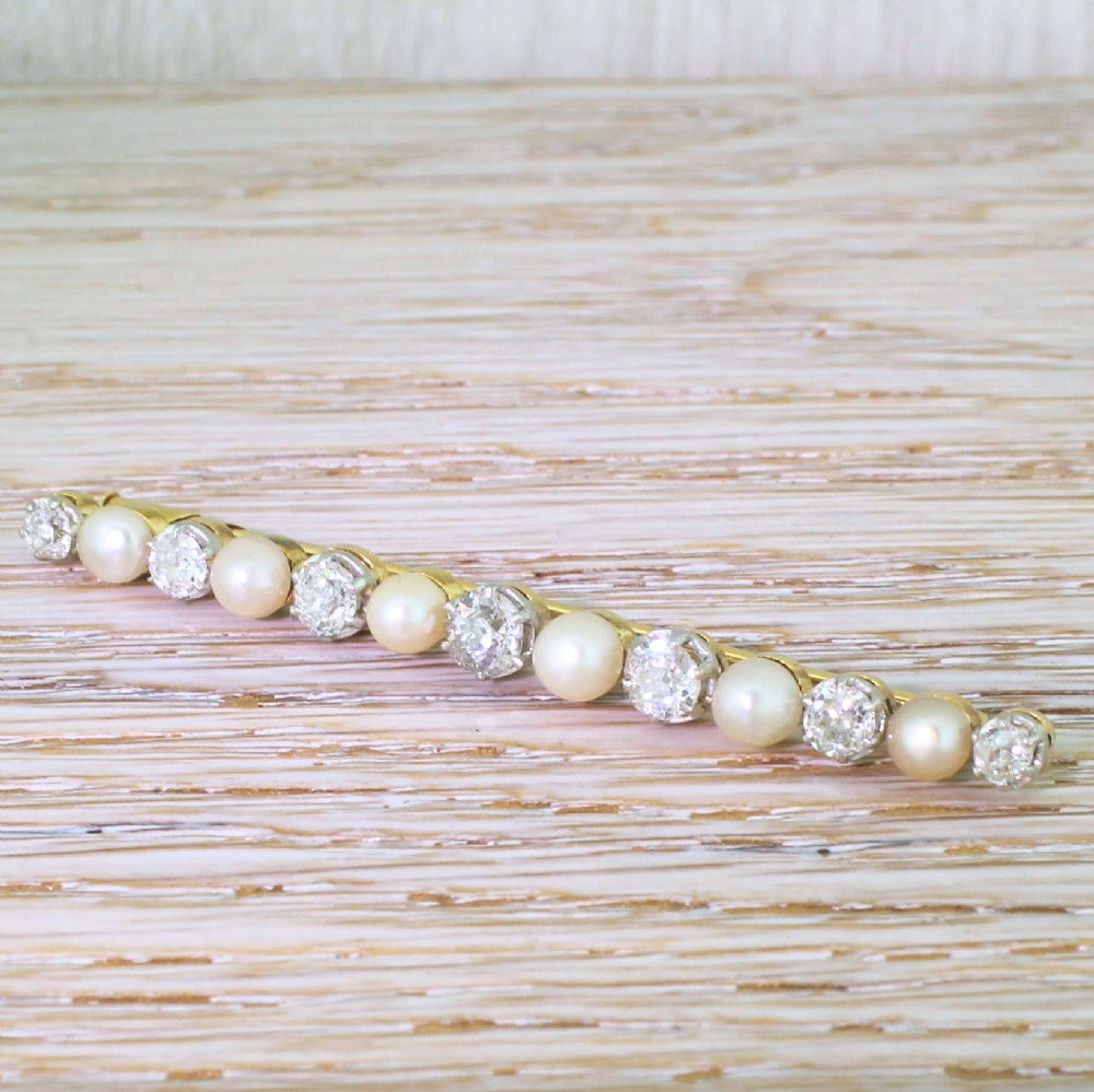 art deco natural pearl old cut diamond pin brooch circa 1915