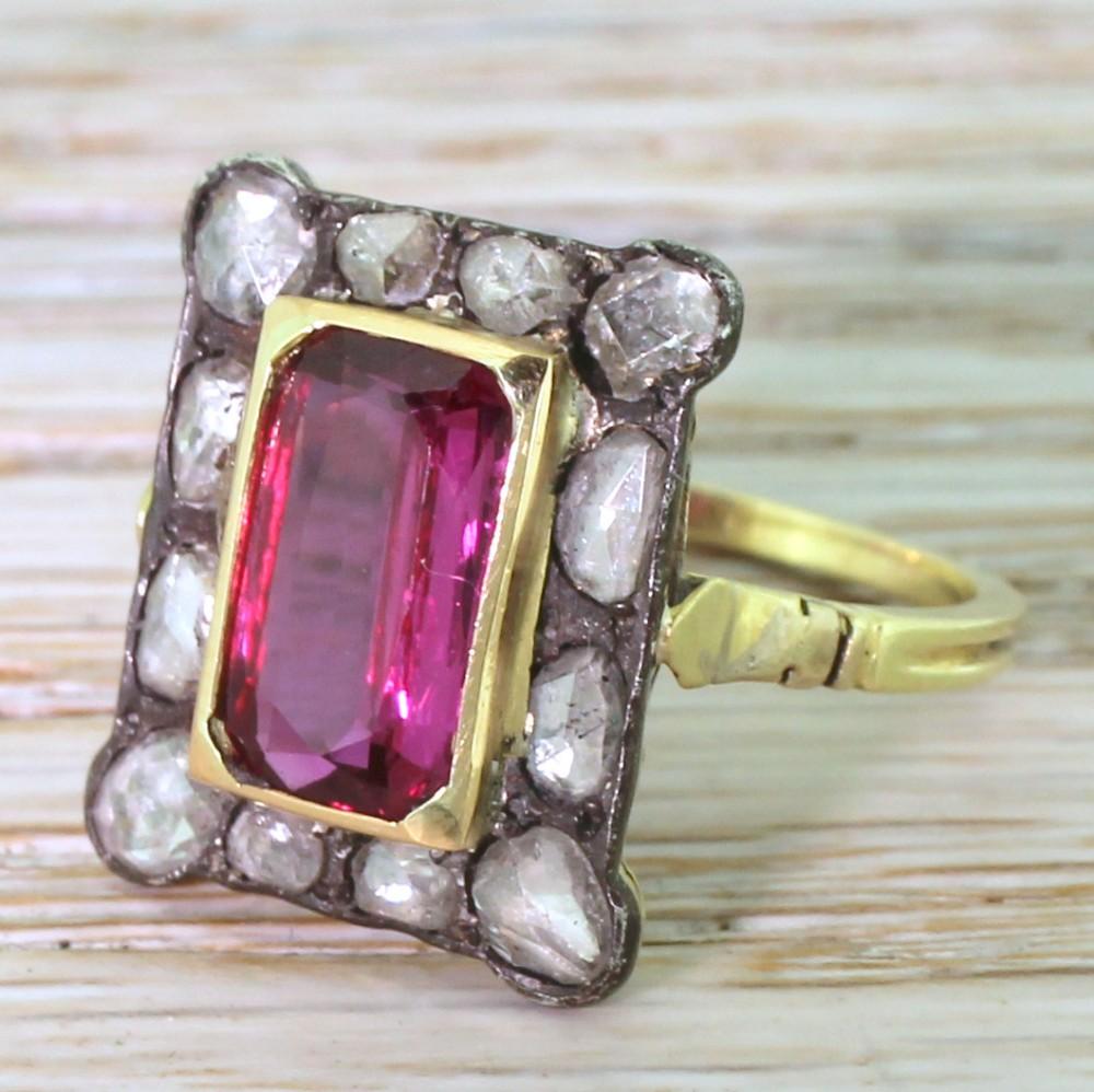 victorian 250 carat ruby rose cut diamond cluster ring circa 1890