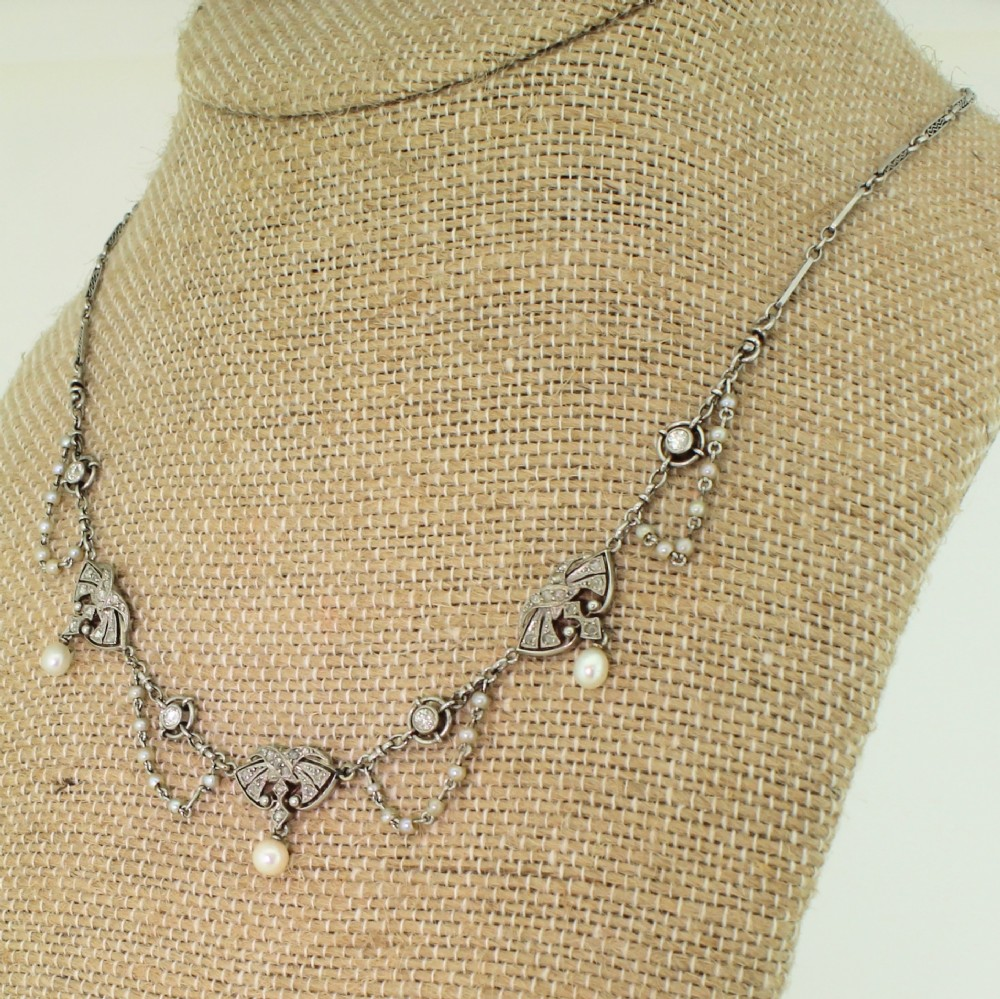 early 20th century natural pearl diamond platinum necklace french circa 1915